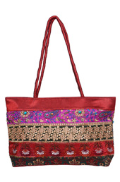 Maroon Floral Embroidery Bag