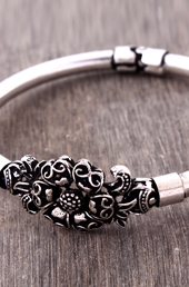 Vogue Crafts and Designs Pvt. Ltd. manufactures Silver Flower German Silver Bangle at wholesale price.