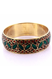 Vogue Crafts and Designs Pvt. Ltd. manufactures Malachite Petals Bangle at wholesale price.