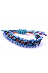 Vogue Crafts and Designs Pvt. Ltd. manufactures Blue Beads and Chain Bracelet at wholesale price.