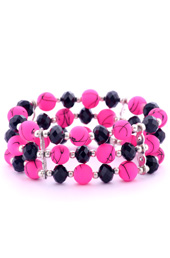 Vogue Crafts and Designs Pvt. Ltd. manufactures Neon Pink and Black Crystals Bracelet at wholesale price.