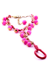Vogue Crafts and Designs Pvt. Ltd. manufactures Neon Pink Bracelet with Ring at wholesale price.