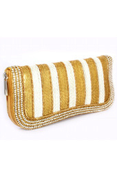 Lines of Gold and Silver Clutch