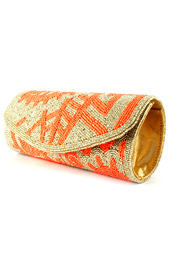 Vogue Crafts and Designs Pvt. Ltd. manufactures Gold and Neon Clutch at wholesale price.