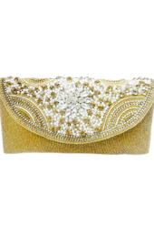 Vogue Crafts and Designs Pvt. Ltd. manufactures Pearly Gold Clutch at wholesale price.