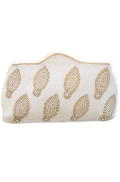 Vogue Crafts and Designs Pvt. Ltd. manufactures White Paisley Clutch at wholesale price.