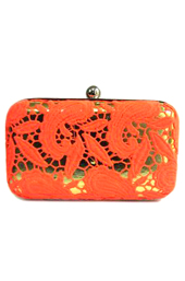 Vogue Crafts and Designs Pvt. Ltd. manufactures The Orange Funk Clutch at wholesale price.