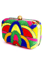 Vogue Crafts and Designs Pvt. Ltd. manufactures Beaded Pattern Box Clutch at wholesale price.