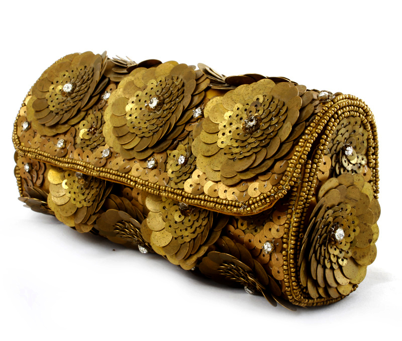 Vogue Crafts & Designs Pvt. Ltd. manufactures Flower of Gold Clutch at wholesale price.