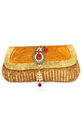 Vogue Crafts and Designs Pvt. Ltd. manufactures Gold Beaded Evening Clutch at wholesale price.