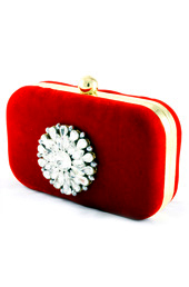 Vogue Crafts and Designs Pvt. Ltd. manufactures Red Broach Box Clutch at wholesale price.