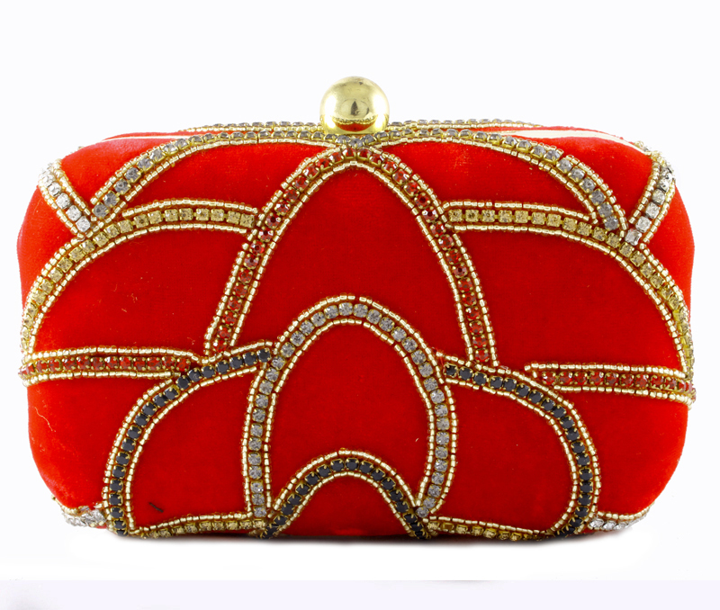 Vogue Crafts & Designs Pvt. Ltd. manufactures Red Evening Clutch at wholesale price.