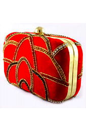 Vogue Crafts and Designs Pvt. Ltd. manufactures Red Evening Clutch at wholesale price.