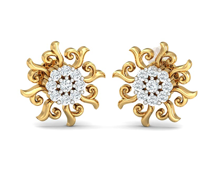 Vogue Crafts & Designs Pvt. Ltd. manufactures Floral Gold Stud Earrings at wholesale price.