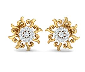 Vogue Crafts and Designs Pvt. Ltd. manufactures Floral Gold Stud Earrings at wholesale price.
