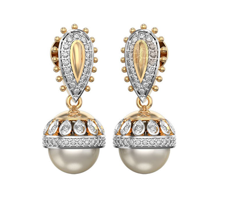 Vogue Crafts & Designs Pvt. Ltd. manufactures Diamond and Pearl Jhumka Earrings at wholesale price.