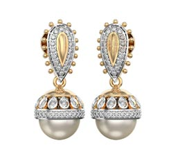 Vogue Crafts and Designs Pvt. Ltd. manufactures Diamond and Pearl Jhumka Earrings at wholesale price.