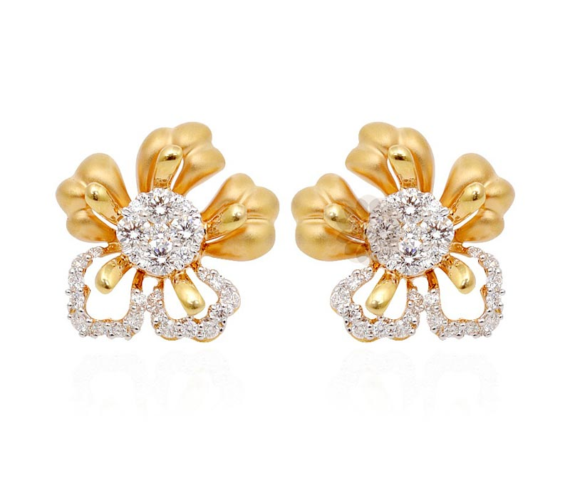 Vogue Crafts & Designs Pvt. Ltd. manufactures Designer Gold Flower Stud Earrings at wholesale price.