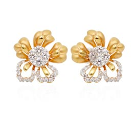 Vogue Crafts and Designs Pvt. Ltd. manufactures Designer Gold Flower Stud Earrings at wholesale price.