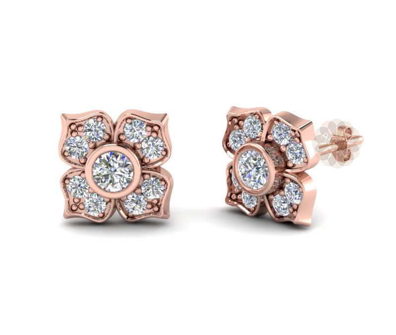 Vogue Crafts & Designs Pvt. Ltd. manufactures Rose Gold Flower Earrings at wholesale price.