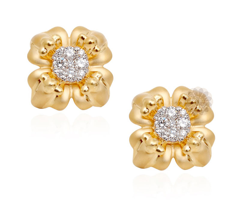 Vogue Crafts & Designs Pvt. Ltd. manufactures Gold and Diamond Flower Stud Earrings at wholesale price.