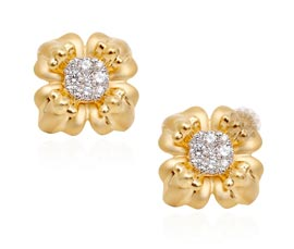 Vogue Crafts and Designs Pvt. Ltd. manufactures Gold and Diamond Flower Stud Earrings at wholesale price.