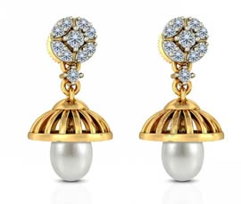 Vogue Crafts and Designs Pvt. Ltd. manufactures Gold and Pearl Jhumka Earrings at wholesale price.