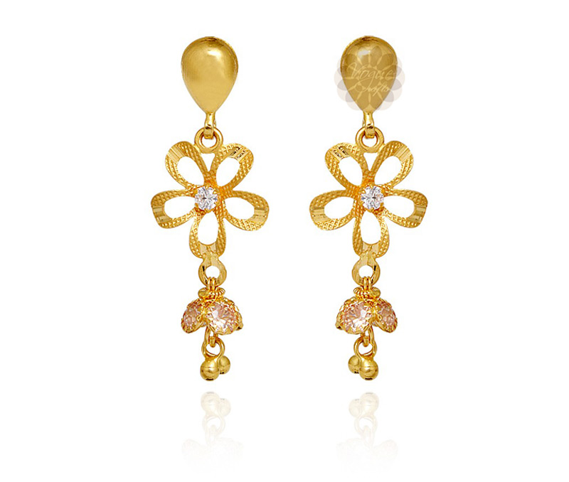 Vogue Crafts & Designs Pvt. Ltd. manufactures Gold Flower Dangler Earrings at wholesale price.