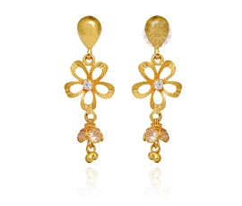 Vogue Crafts and Designs Pvt. Ltd. manufactures Gold Flower Dangler Earrings at wholesale price.