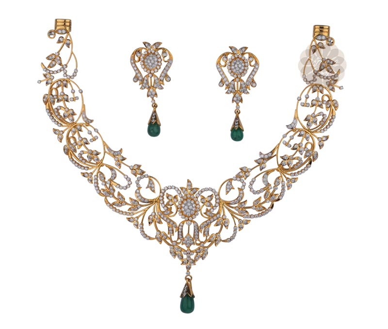Vogue Crafts & Designs Pvt. Ltd. manufactures Green Emerald and Gold Necklace at wholesale price.