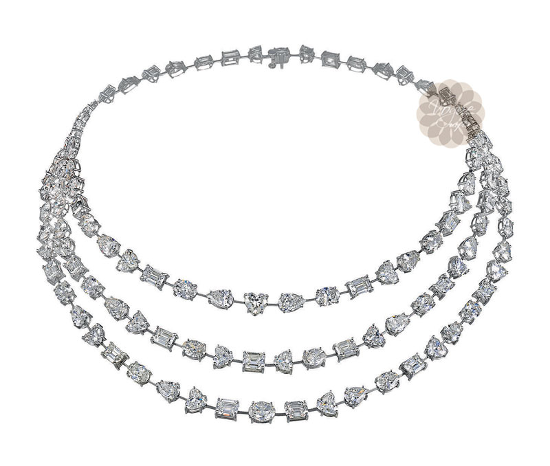 Latest Design Jewelry - Layered Diamond Necklace .
