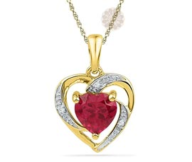 Ruby Heart Diamond Pendant
