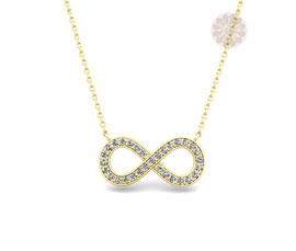 Infinity Diamond and Gold Pendant