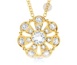 Floral Diamond and Gold Pendant