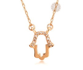 Vogue Crafts and Designs Pvt. Ltd. manufactures Hamsa Hand Rose Gold Pendant at wholesale price.
