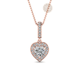 Vogue Crafts and Designs Pvt. Ltd. manufactures Rose Gold Heart Drop Pendant at wholesale price.