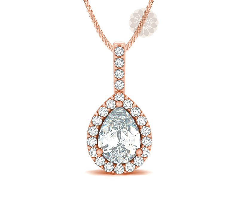 Vogue Crafts & Designs Pvt. Ltd. manufactures Rose Gold Pear Drop Pendant at wholesale price.