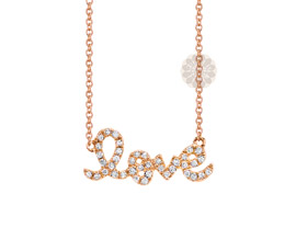Vogue Crafts and Designs Pvt. Ltd. manufactures Rose Gold and Diamond Love Pendant at wholesale price.