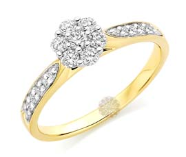 Vogue Crafts and Designs Pvt. Ltd. manufactures Diamond Cluster Ring at wholesale price.