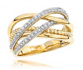 Vogue Crafts and Designs Pvt. Ltd. manufactures Crisscross Gold Ring at wholesale price.