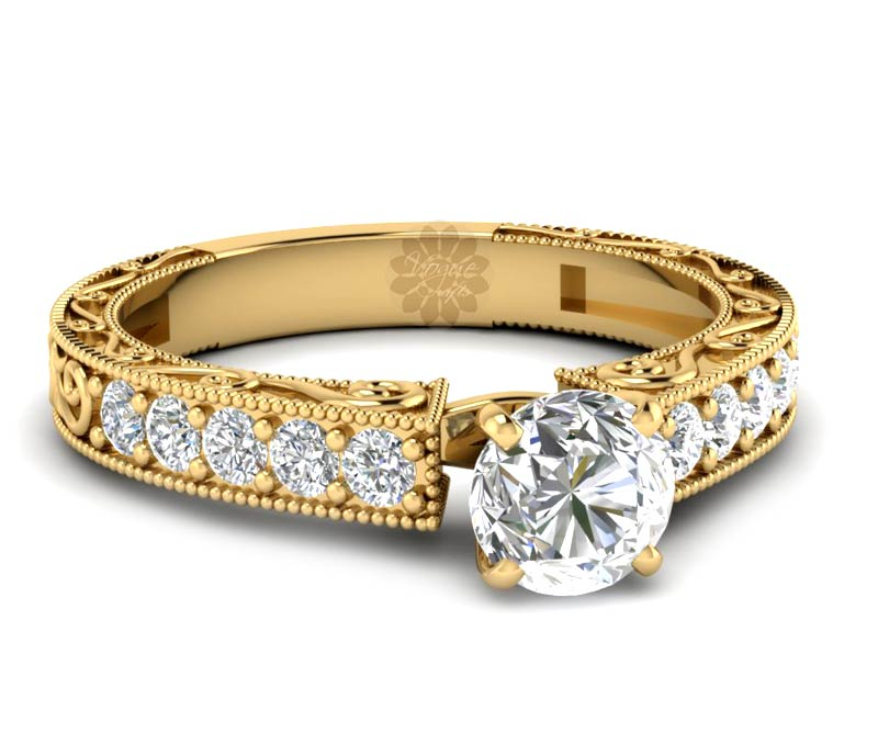 Vogue Crafts & Designs Pvt. Ltd. manufactures Vintage Gold Engagement Ring at wholesale price.