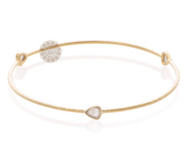 Textured Diamond and Gold Bangle