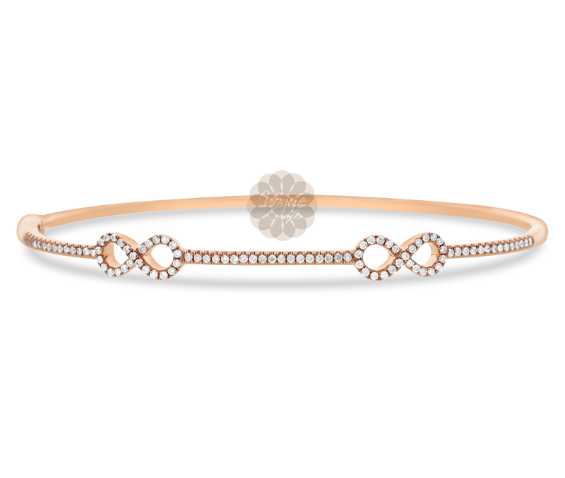 Vogue Crafts & Designs Pvt. Ltd. manufactures Rose Gold Infinity Bangle at wholesale price.