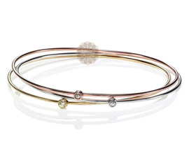 Gold and Diamond Bangle Stack