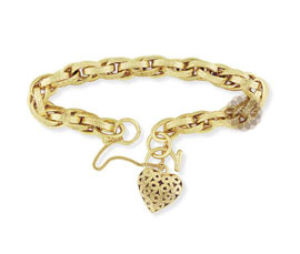 Vogue Crafts and Designs Pvt. Ltd. manufactures Fancy Heart Gold Bracelet at wholesale price.