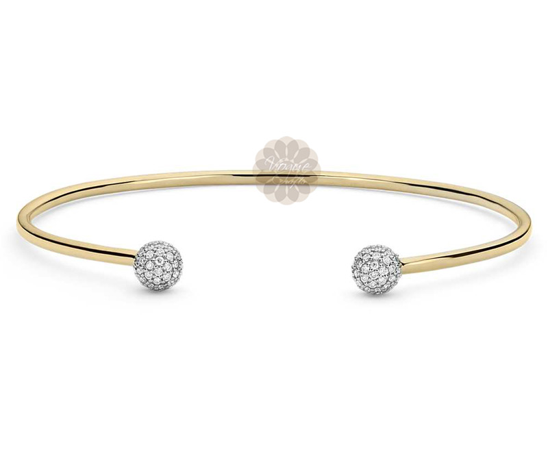 Latest Design Jewelry - Round Diamond and Gold Cuff .