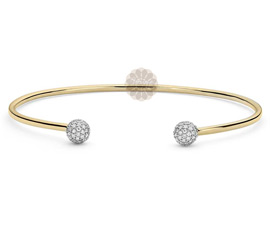 Round Diamond and Gold Cuff