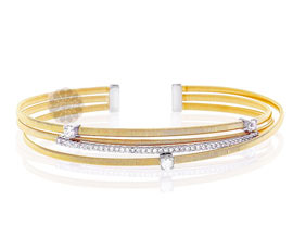 Three Row Gold Cuff