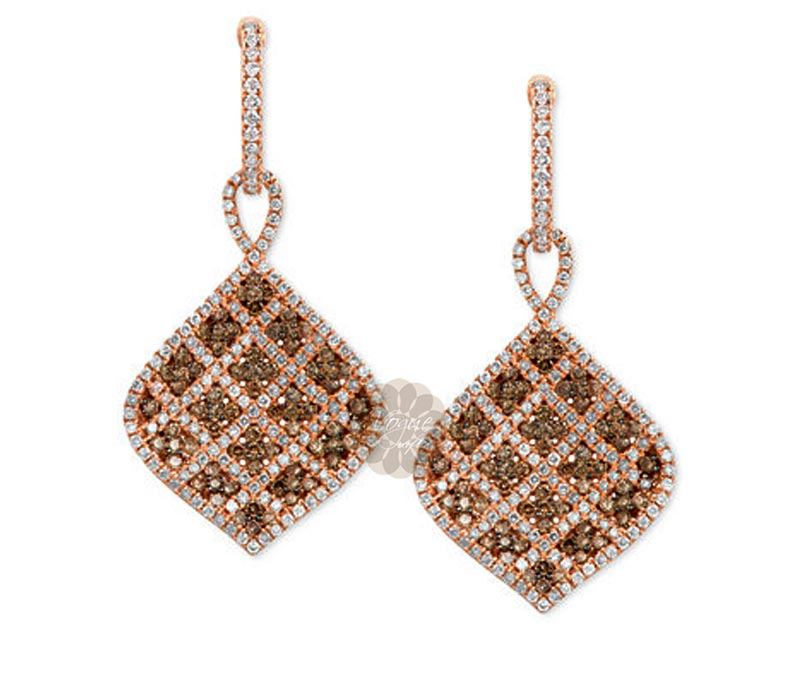 Latest Design Jewelry - Rose Gold Diamond Earrings .
