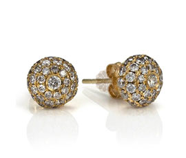Diamond and Gold Stud Earrings